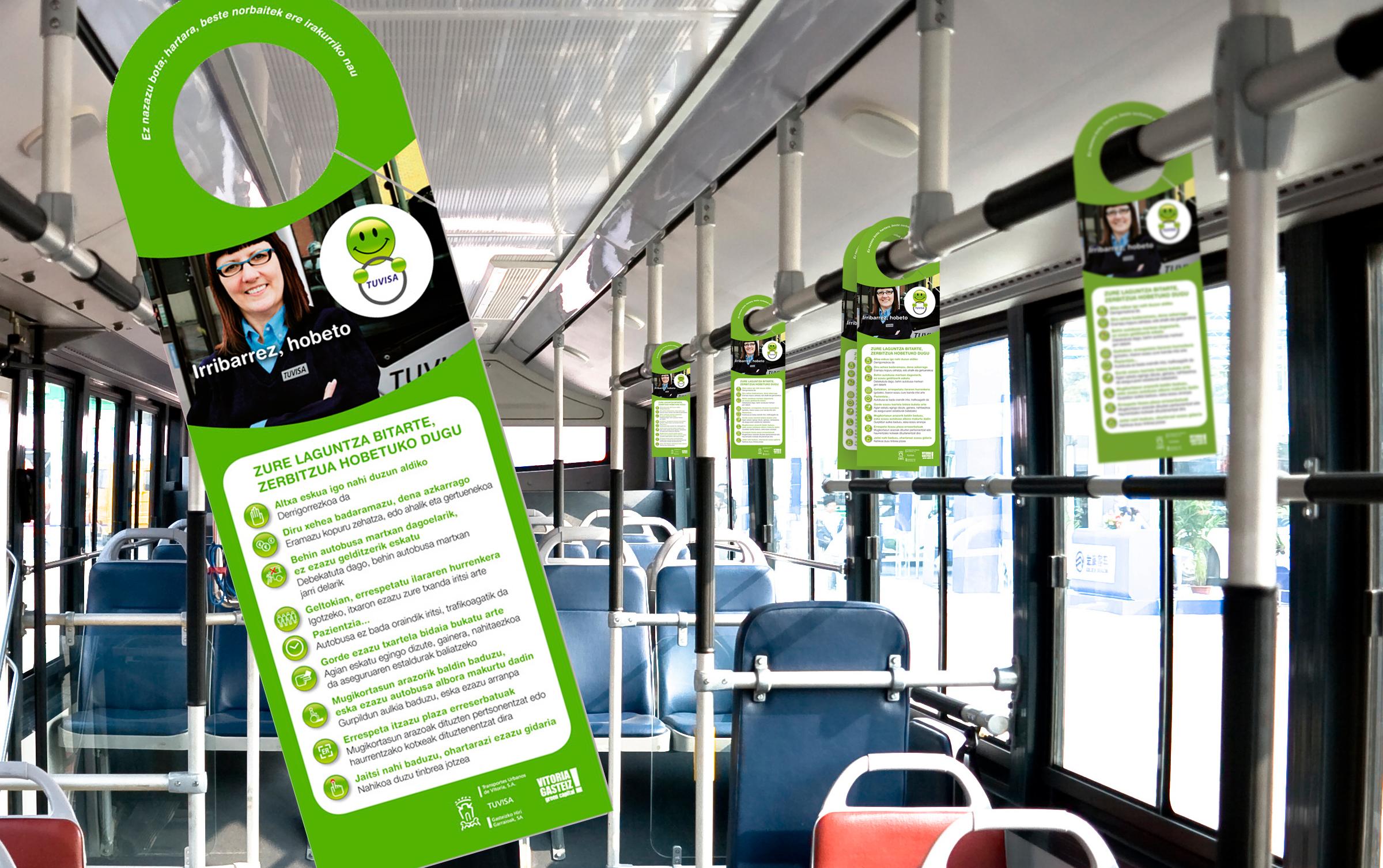 Autobus barruan zintzilikatzeko elementu publizitarioa